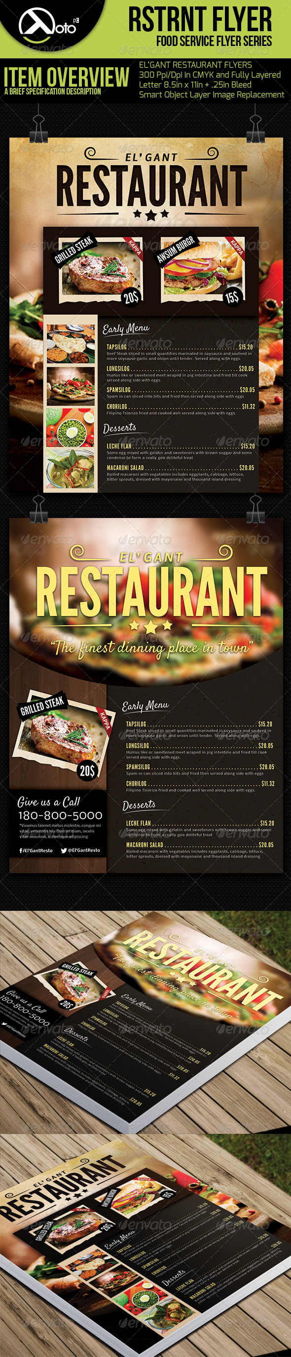 2 in 1 Restaurant Menu Flyers - Restaurant Flyers