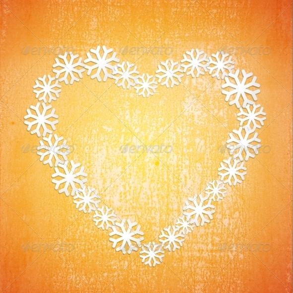 Grunge Christmas Background in the Orange Heart