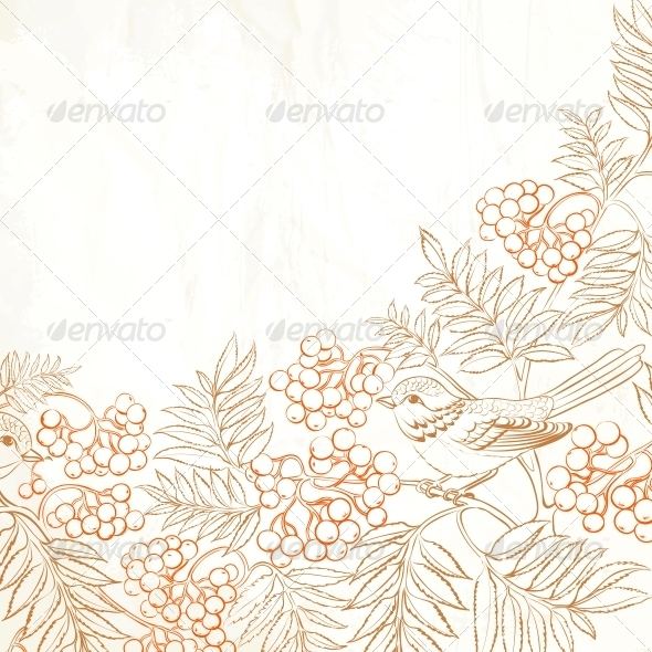 GraphicRiver Background Bush Rowan and Bird 6102664