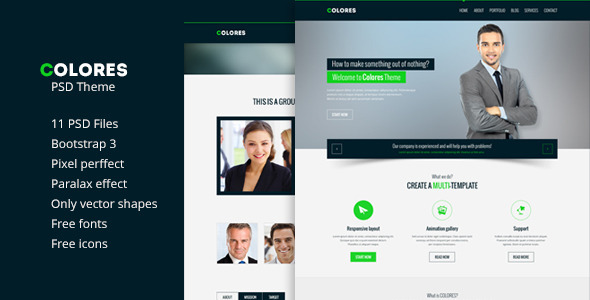Colores Theme PSD - Corporate PSD Templates