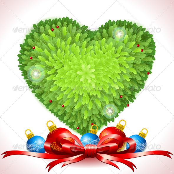 GraphicRiver Holly Leaves Heart with Christmas Balls 6102773