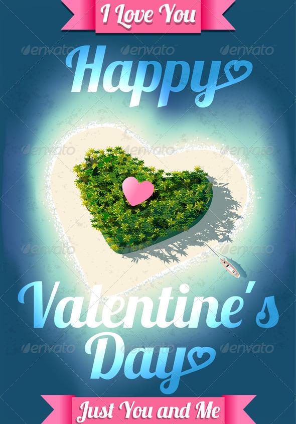 GraphicRiver Happy Valentine s Day Tropical Island 6102864