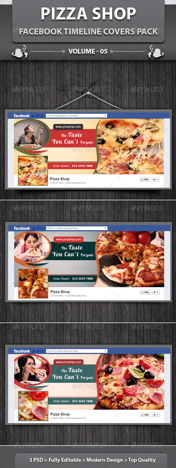 GraphicRiver Pizza Shop Facebook Timeline Covers Pack v5 6102870
