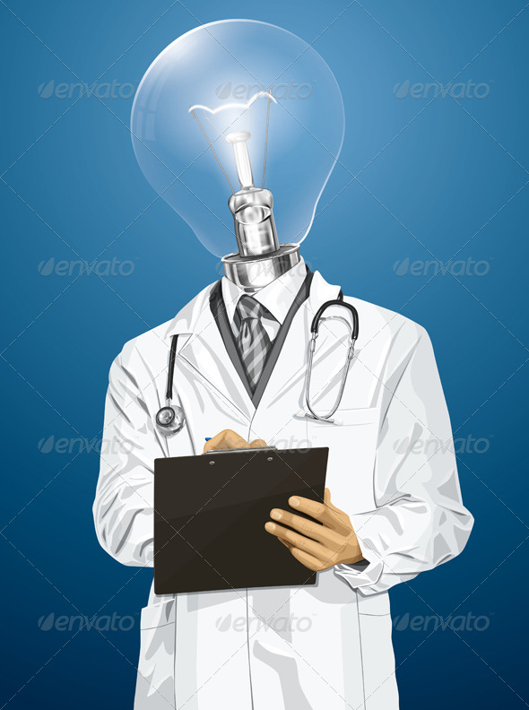 GraphicRiver Vector Lamp Head Doctor Man with Clipboard 6102903