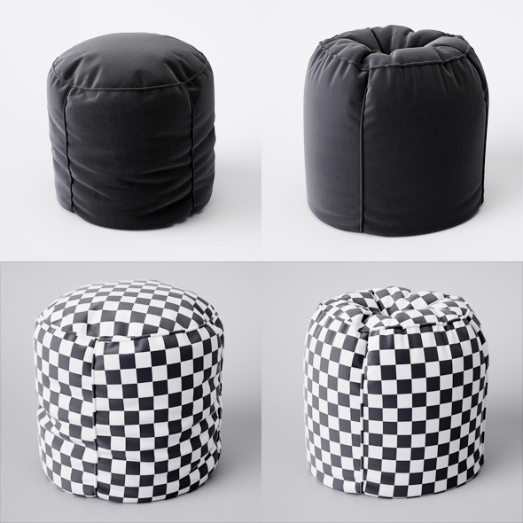 2 pouf with pleats