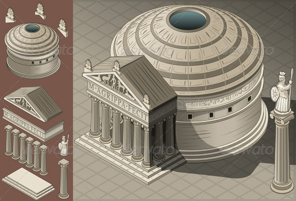 GraphicRiver Isometric Pantheon Temple in Roman Architecture 6103628