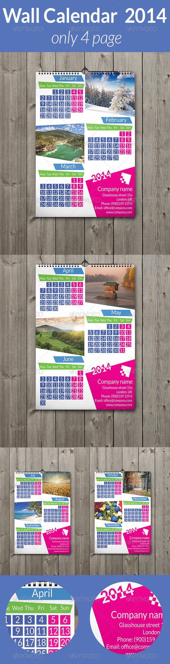 Wall Calendar  2014 Only 4 Page