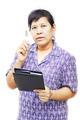Senior woman holding a pen - PhotoDune Item for Sale