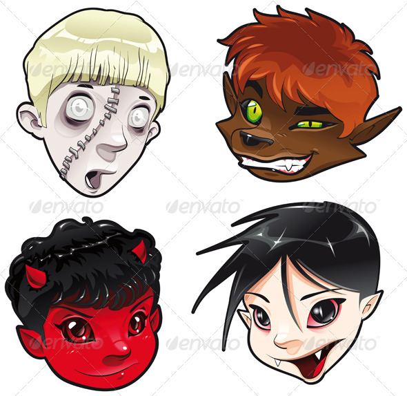 Zombie, Werewolf, Devil and Vampire.  - Monsters Characters