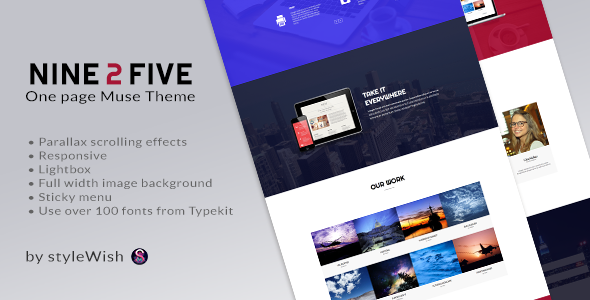 ThemeForest Nine 2 Five One Page Muse Theme 6075281