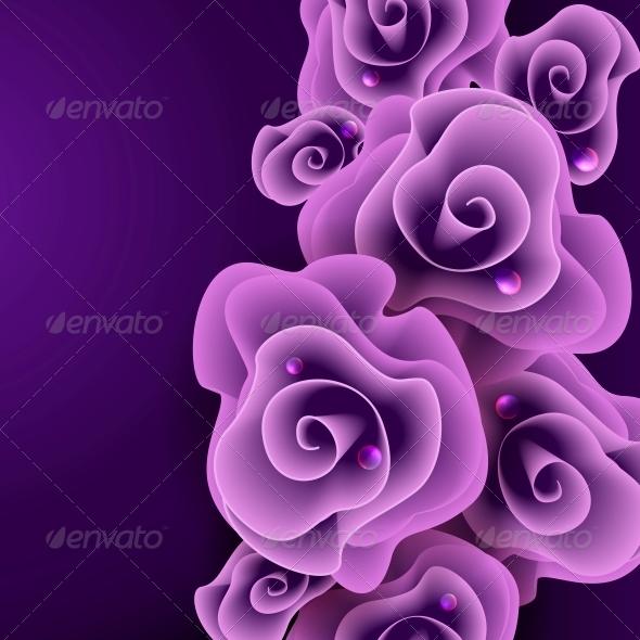 GraphicRiver Purple Rose Background 6105338