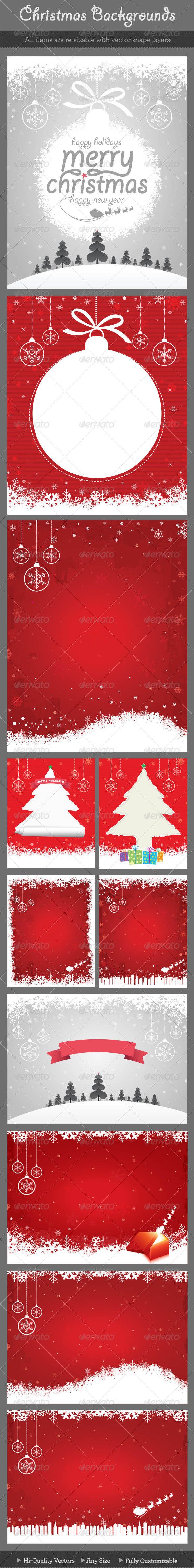 GraphicRiver Christmas Backgrounds Bundle 6106645
