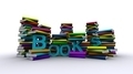 Colorful Piles Of Books With Blue Text - PhotoDune Item for Sale