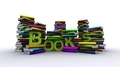 Colorful Piles Of Books With Green Text - PhotoDune Item for Sale