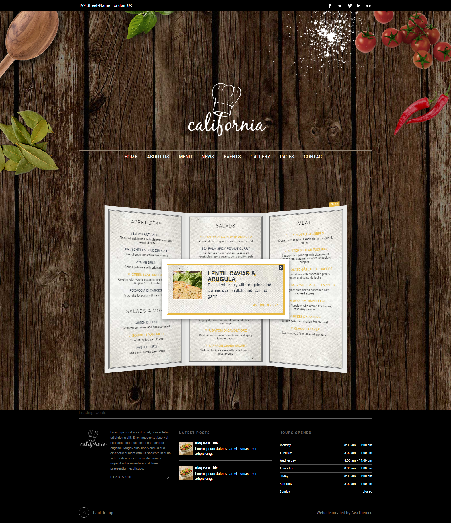 California - Restaurant Hotel Shop WordPress Theme