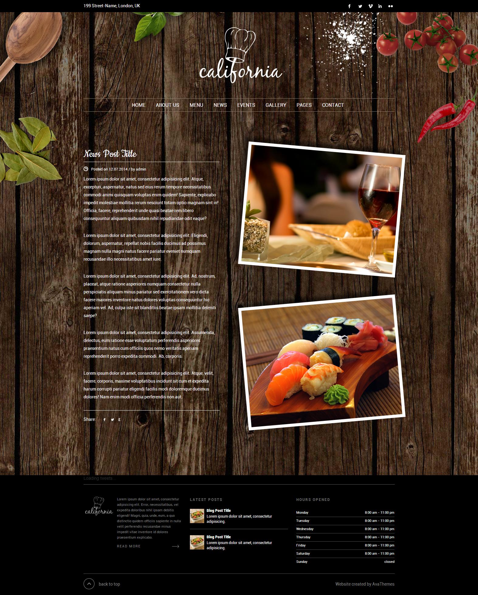 California - Restaurant Hotel Shop WordPress Theme