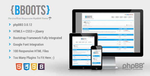 ThemeForest BBOOTS HTML5 CSS3 Fully Responsive PhpBB3 Theme 6043477