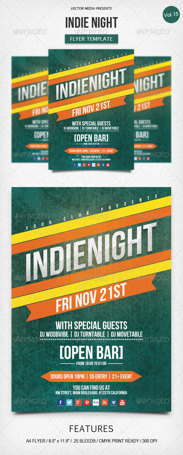 GraphicRiver Indie Night Flyer [Vol.15] 6107504
