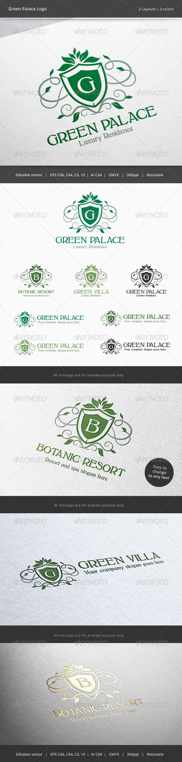 GraphicRiver Green Palace Letter Crest Logo 6107744