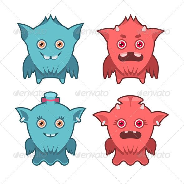 GraphicRiver Monster Emotions Set 6108156