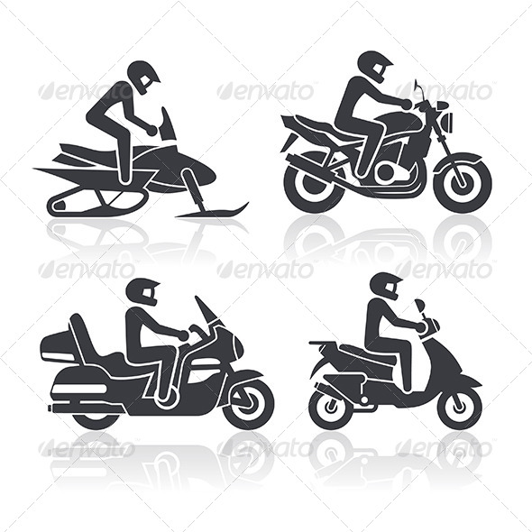 GraphicRiver Motorcycle Icons Set 6108200