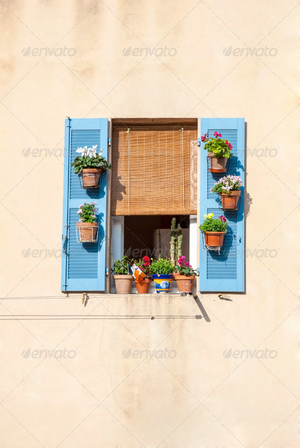Window with blue shutters and flowers - Stock Photo - Images