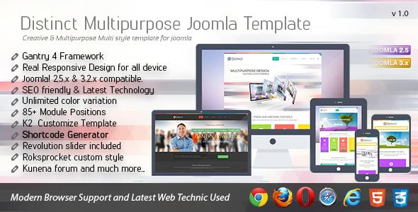 ThemeForest Distinct Multipurpose Joomla Template 6108906