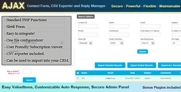 Formular de contact, CSV exportatori și Răspuns manager Secure puternice Funcții flexibile de întreținut standard PHP Form Sleek COI. 01W wv. Ușor mtegrate! Unul de configurare fișier! Utilizator prietenos Abonament Viewer. Exportator CSV inclus. Pot fi folosite import în dumneavoastră CRM WOT Reić Ixpt Emal Vahadtions ușor, personalizate răspuns Auto, Admin Secure plugins Panel Bonus inclus