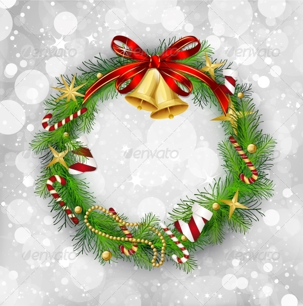 GraphicRiver Christmas Garland with Bells and Holly Berry 6109299