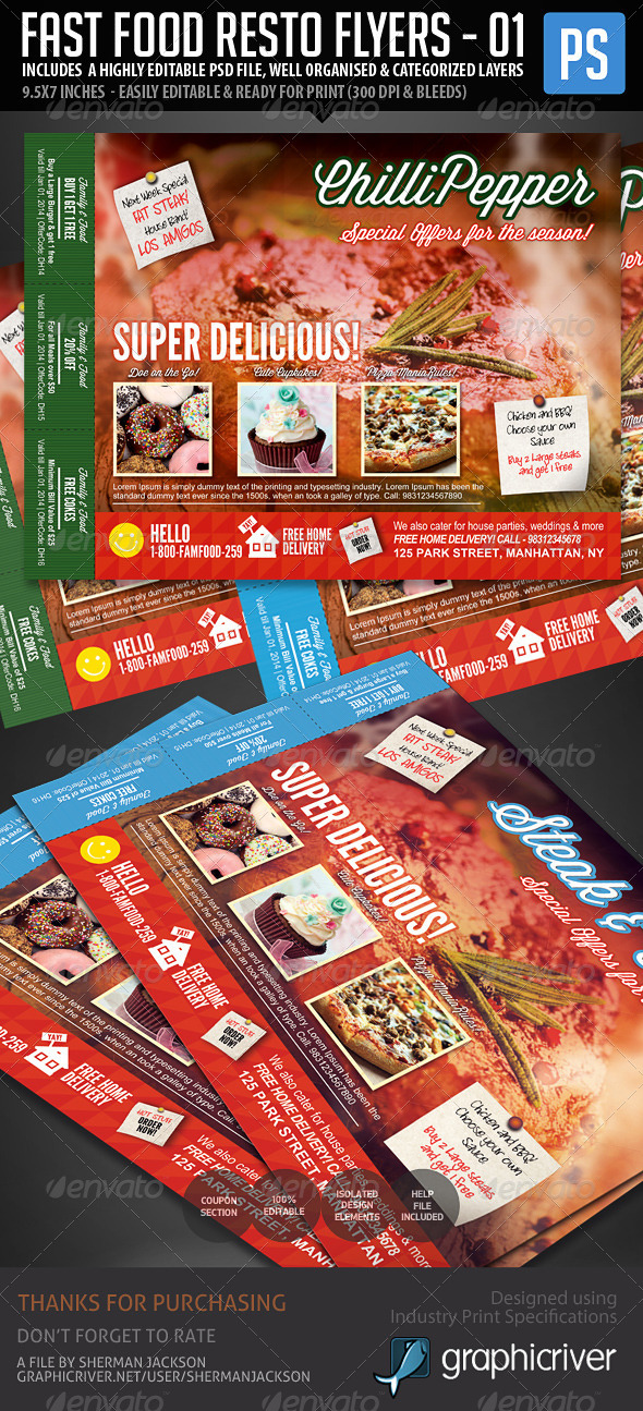 Fast Food Resto Menu & Catering Flyers - Restaurant Flyers