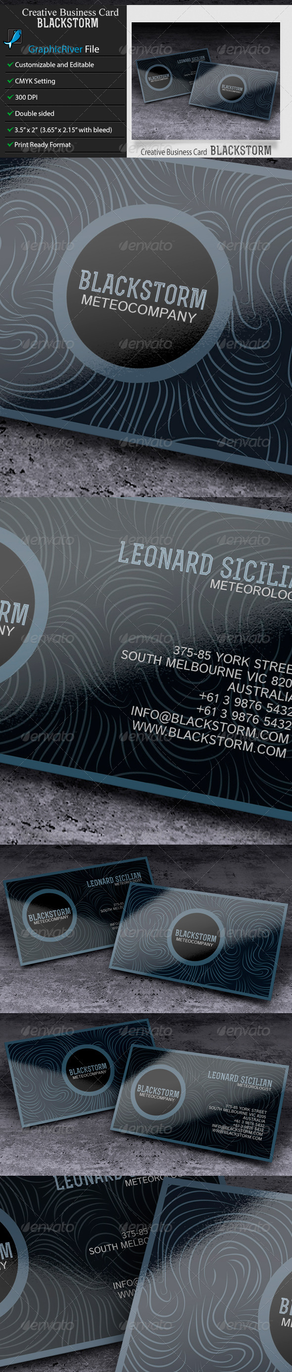 GraphicRiver Creative or Corporate Business Card BlackStorm 6110259