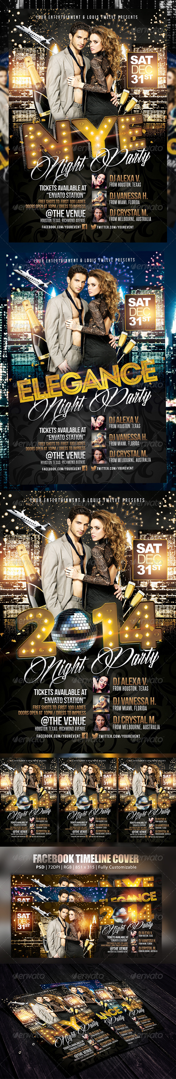 New Year Eve or Elegance Party | Flyer + FB Cover - Holidays Events