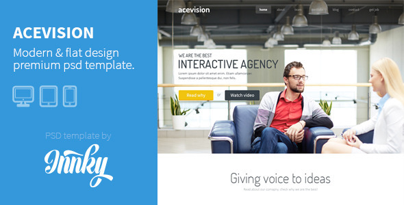 ThemeForest Acevision Corporate One Page PSD Template 6110622