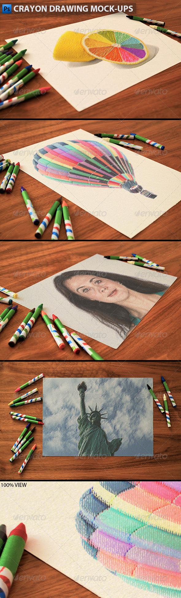 GraphicRiver Crayon Drawing Mock-ups 6110766