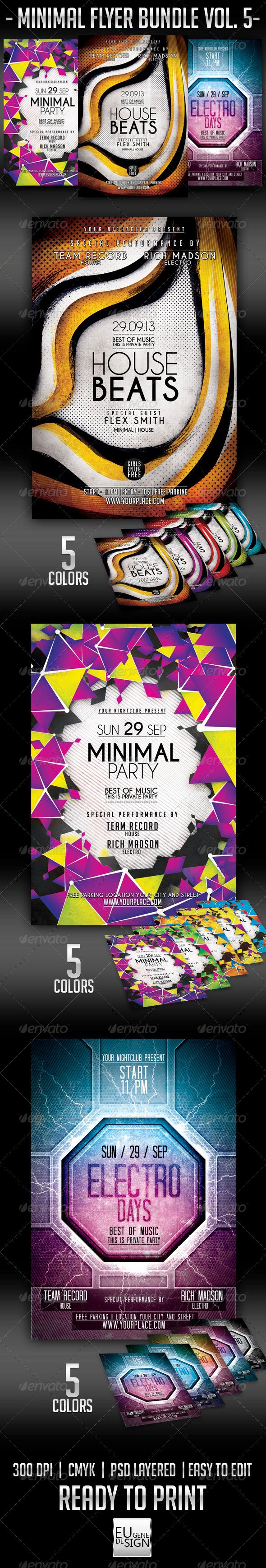 Minimal Flyer Bundle Vol.5 - Clubs & Parties Events