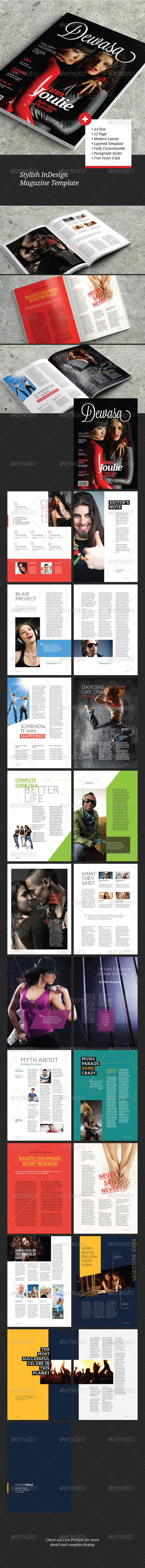 GraphicRiver Stylish InDesign Magazine Template 6111426
