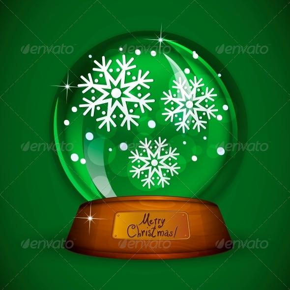 GraphicRiver Christmas Snow Globe with Snowflake 6111866