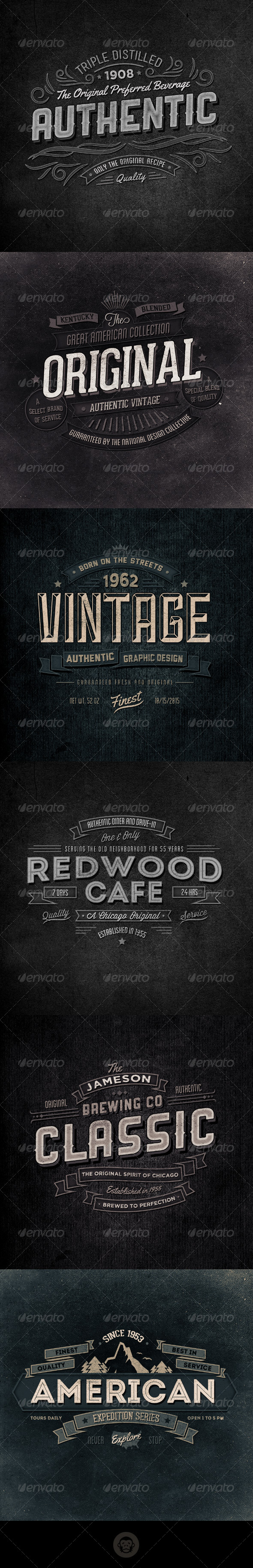 GraphicRiver Retro Typographic Insignia and Badges Vol 2 6112195