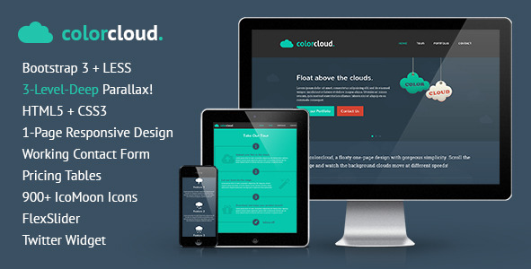 ColorCloud - One-Page Design, 3-Layer Parallax