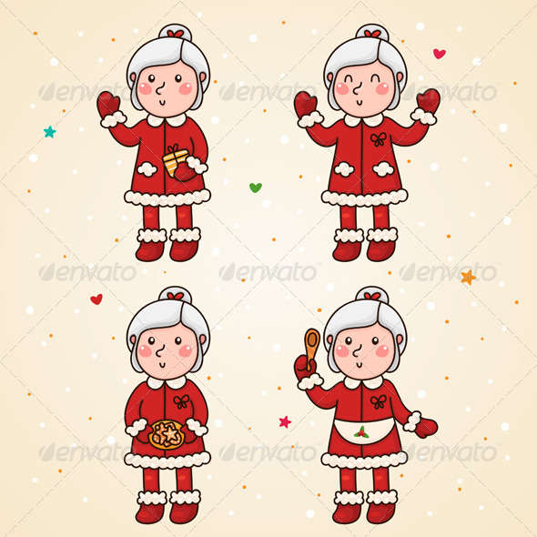 GraphicRiver Mrs Claus Set 6112343