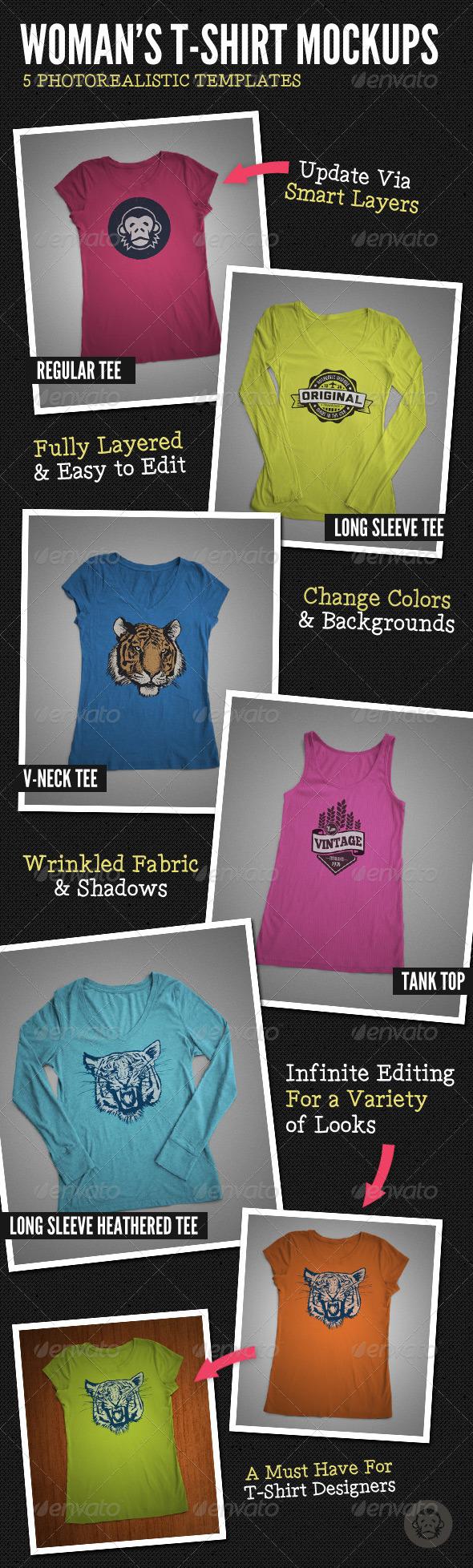 GraphicRiver Ladies T-Shirt Mock-Ups 6112581