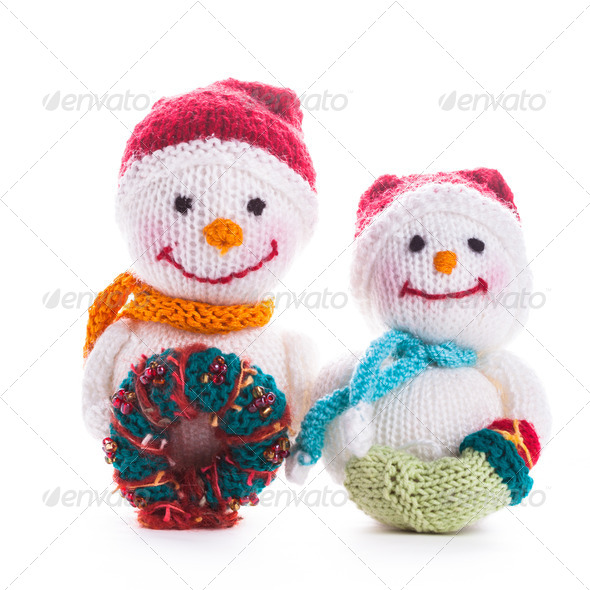Knitted snowmen - Stock Photo - Images