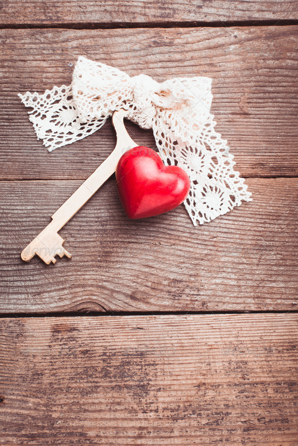 Old key and heart - Stock Photo - Images