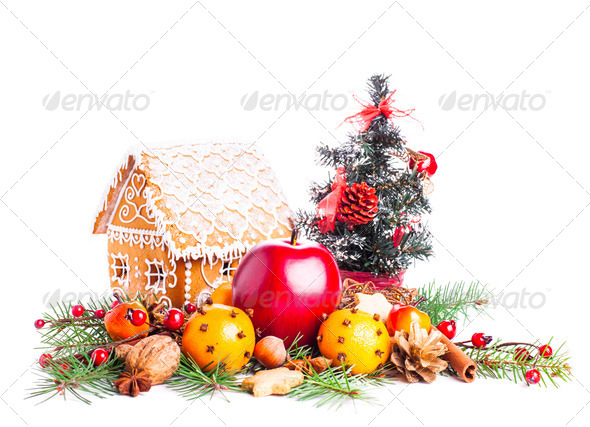 gingerbread house and decor - Stock Photo - Images