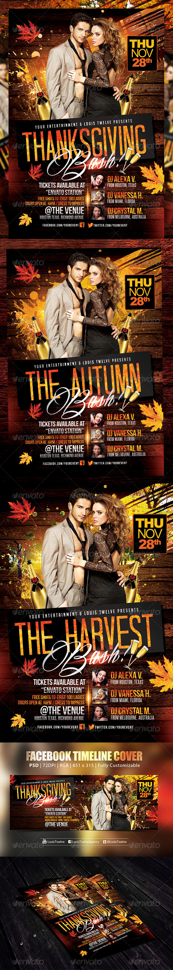 GraphicRiver Thanksgiving or Autumn Bash Flyer & FB Cover 6113130
