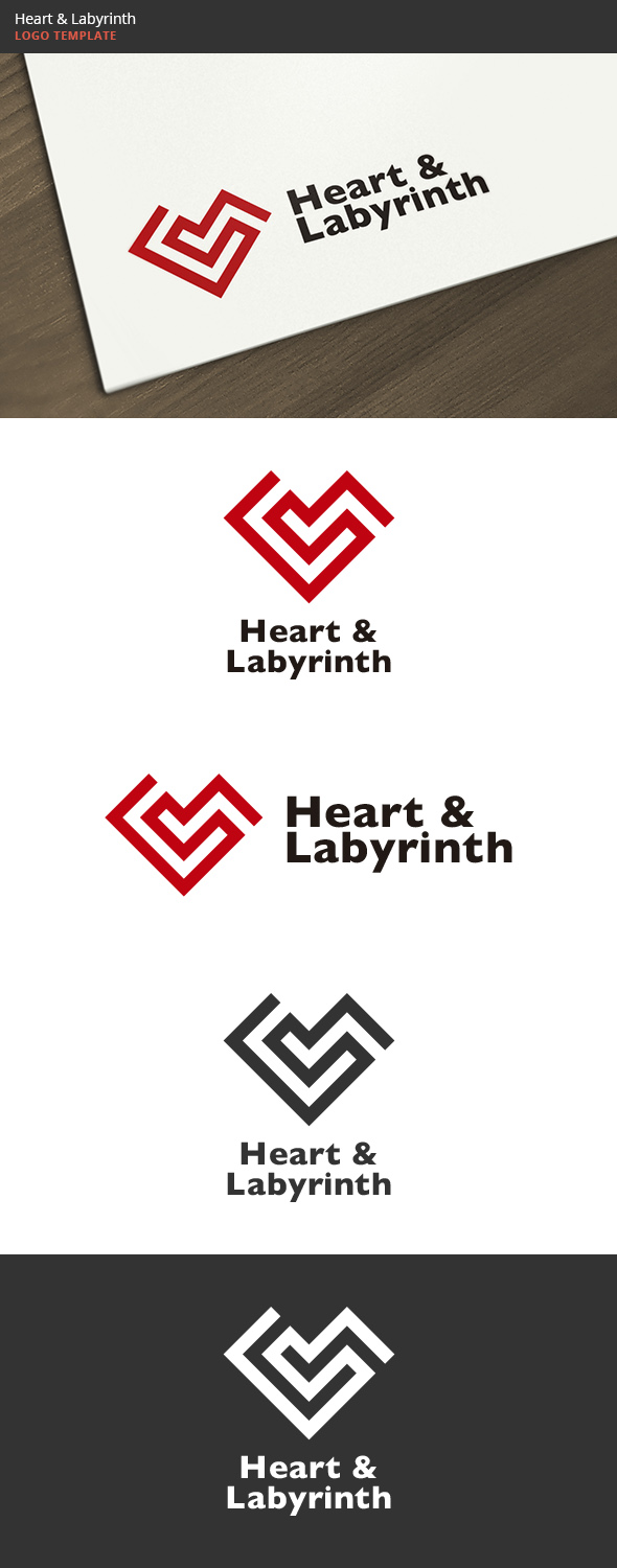 GraphicRiver Heart & Labyrinth Logo 6113917