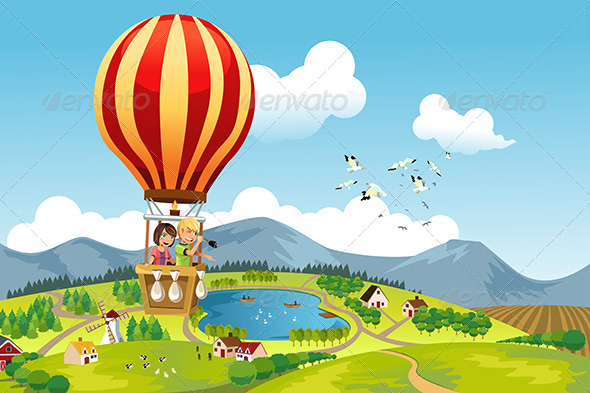 GraphicRiver Kids Riding Hot Air Balloon 6114156