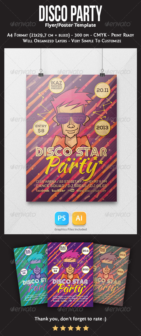 Disco Star Flyer Template - Clubs & Parties Events