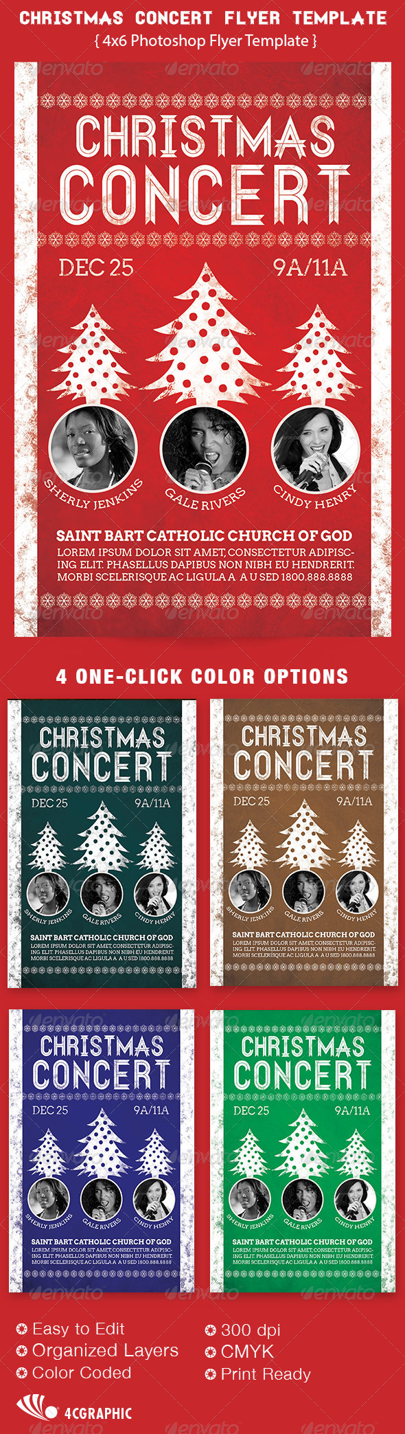 christmas concert flyer template graphicriver. Black Bedroom Furniture Sets. Home Design Ideas