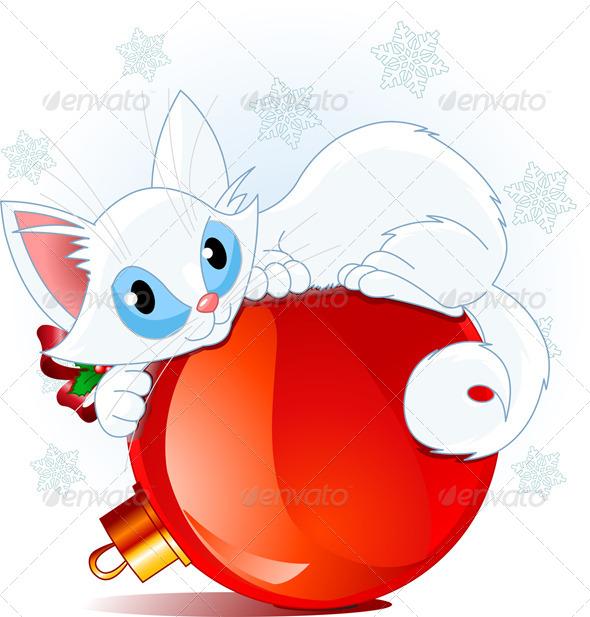 GraphicRiver White Christmas Cat 6114779